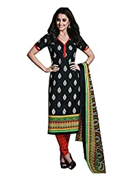 SGC Black Cotton Printed Unstitched Churidar Kameez SU-2803