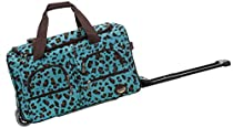 Rockland 22 Inch Rolling Duffle Bag, Blue Leopard, One Size