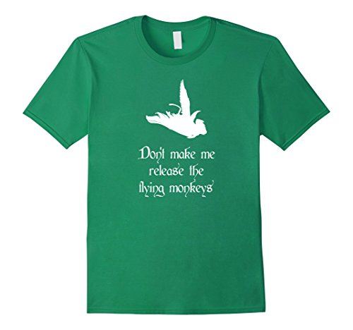 [Men's Don't Make Me Release Flying Monkeys Halloween Costume Tee XL Kelly Green] (Make A Last Minute Halloween Costume)