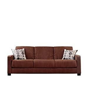 Handy Living CAC1-S8-AAA89 Living Room Convert-A-Couch Microfiber, Dark Brown