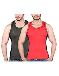 White Moon 999 Gym Vest - Pack Of 2 (Green_Red)