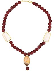 Stylepotion Ethnic Maroon Lava Beads Chalcedony Quartz Drop Chain Necklace For Women(SN10003B)