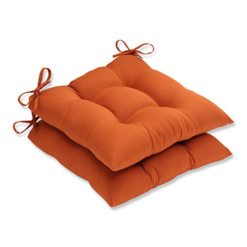 Pillow Perfect Indoor/Outdoor Cinnabar Tufted Seat Cushion, Burnt Orange, Set of 2 (Orange Outdoor Cushions compare prices)