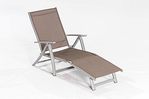 Deckchair Sonnenliege CARRARA aus Alu + Textilgewebe, taupefarben online bestellen
