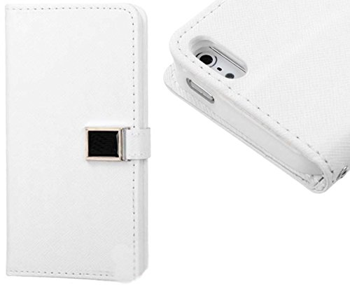 Mylife Bright White {Classic Chic Design} Textured Koskin Faux Leather (Card And Id Holder + Magnetic Detachable Closing) Slim Wallet For Iphone 5/5S (5G) 5Th Generation Smartphone By Apple (External Rugged Synthetic Leather With Magnetic Clip + Internal