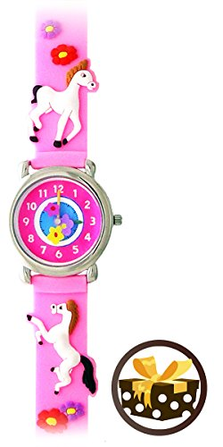 Playful Ponies (Pink) - Children's Time Teacher WATERPROOF Pony Watch with DELUXE GIFT BOX (My Little Pony Equestria Girl Costume)