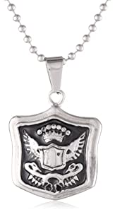 Stainless Steel Men's Two Tone Black and Steel Federal Pendant Necklace