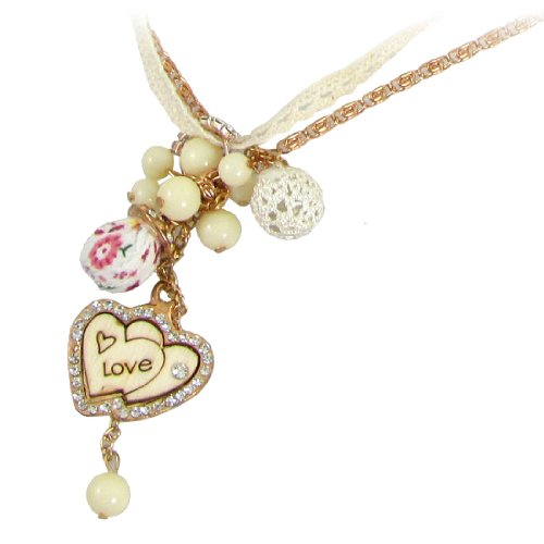 Rosallini Gold Tone Ivory Straps Rhinestone Decor Plastic Beads Pendants Sweater Necklace for Ladies