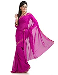 Designersareez Women Chiffon Jacquard Printed Magenta Saree With Unstitched Blouse(963)