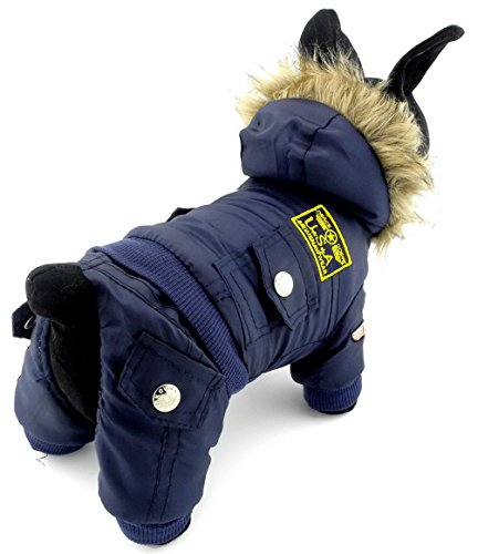 SELMAI Waterproof Fleece Lined Dog Coat Airman Hooded Jumpsuit Snow Jacket Winter Dog Clothes for Chihuahuas Blue S (Yorkie Terrier Clothes compare prices)