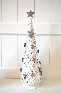 baum weihnachtsbaum dekobaum deko weihnachtsdeko x mas weide kegel wei shabby ca 45cm amazon. Black Bedroom Furniture Sets. Home Design Ideas