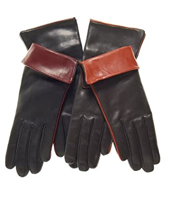 Fratelli Orsini Women's Cashmere Lined Leather Gloves with Contrast Cuff Size 6 1/2 Color Brown
