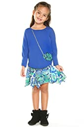Haven Girl Girls\' Boutique Amazon Dolman Cuff Top & Roll Top Skirt 2pc Set 6 Cobalt