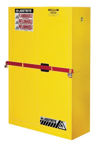 "Justrite 29884Y Steel 2 Door Manual Close High Security Flammables Safety Cabinet With Draw Bar, 45 Gallon Capacity, 43"" Width X 65"" Height X 18"" Depth, 2 Shelves, Yellow"