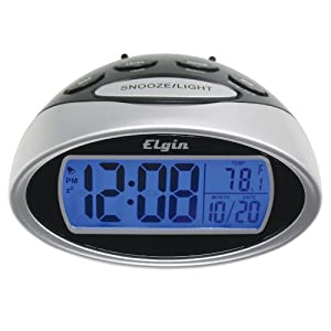 elgin battery powered lcd alarm clock with nap timer 3408e silver electronics. Black Bedroom Furniture Sets. Home Design Ideas
