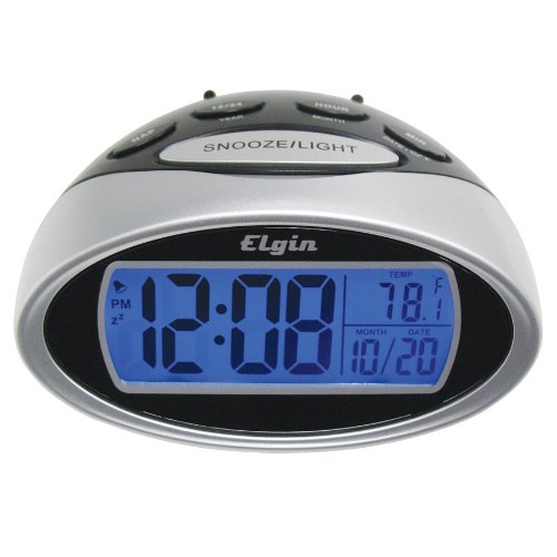 elgin battery powered lcd alarm clock with nap timer 3408e silver geneva radio. Black Bedroom Furniture Sets. Home Design Ideas