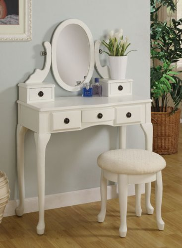 White Finish Vanity with Stool and Drawers