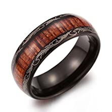 buy Caperci Men'S 8Mm Vintage Dome Wood Inlay Tungsten Carbide Ring Wedding Band Size 12.5