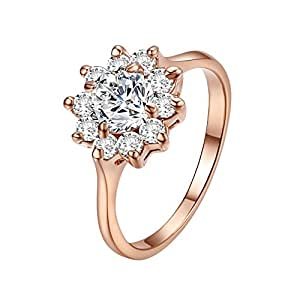 Yoursfs 18k Rose Gold Plated Sunflower Cubic Zirconia CZ Bridal Wedding Jewelry Ring (7)