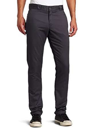 Dickies Men's Skinny Straight Fit Work Pant, Charcoal, 34x34