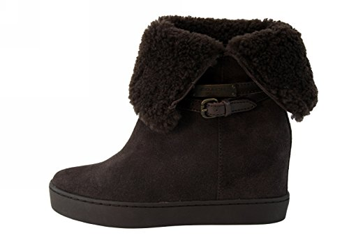 Coach Norell Wedge Ankle Boot Chestnut Brown Suede/Shearling Winter Shoe Size 5
