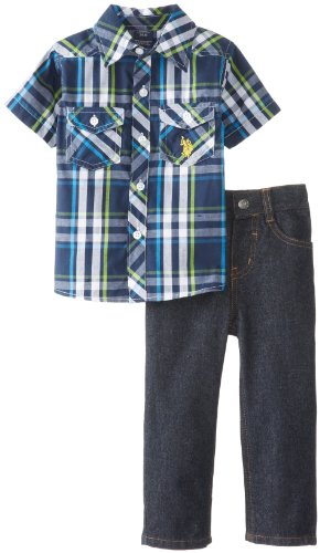 U.S. Polo Assn. Baby-Boys Infant 2 Piece Woven Palid Shirt And Denim Pant Set, Classic Navy, 24 Months