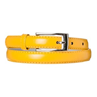 Riverberry Women's Leather Adjustable Skinny Belt, Dark Yellow, Size Large