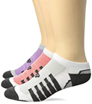 New Balance No Show 1/2 Cushion Trainer Socks (3-Pack), White-Pink/White-Grey/White-Purple, Medium