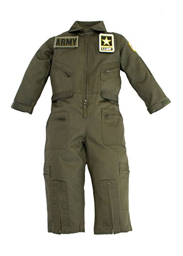 Kids Military Replica OD Green Flight Suit US Army Patches Medium 5-6