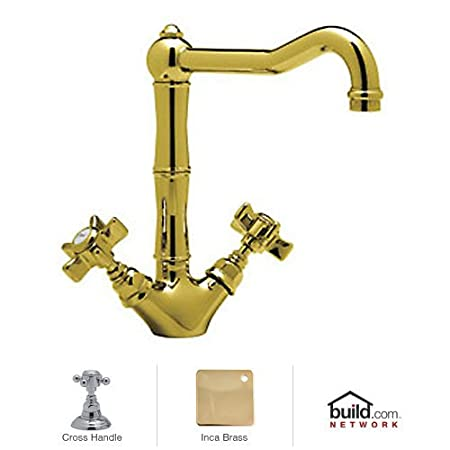 Rohl A1469XM Country Kitchen Series Kitchen Faucet with Metal Cross Handles, Inca Brass