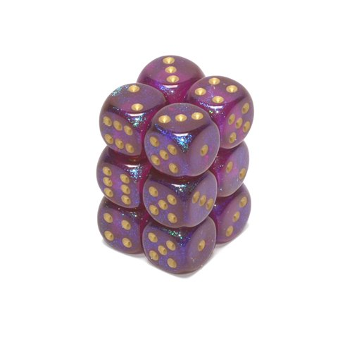 Chessex Dice d6 Sets: Borealis Royal Purple with Gold - 16mm Six Sided Die (12) Block of Dice - 1