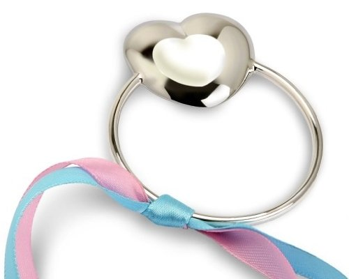 Krysaliis Sterling Silver Baby Teether Rattle, Heart front-116454
