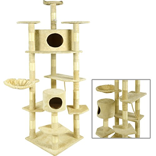 BestPet Cat Tree Condo Furniture Scratching Post Pet Cat Kitten Pet House, 80-Inch, Beige (Cat Houses & Condos compare prices)