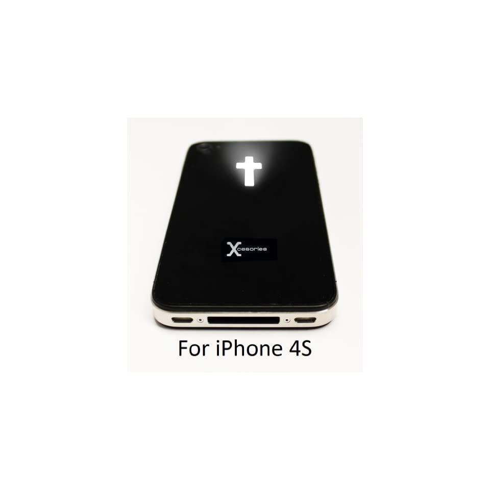 Xcesories Luminescent LED Light Mod Kit Cross Glowing Logo Back Cover Housing in BLACK with interior frame and tool kit for iPhone 4S AT&T Verizon