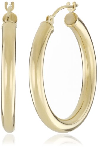 "Duragold 14k Yellow Gold Hoop Earrings, (1"" Diameter)"