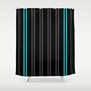 Society6 Charcoal Gray Teal Black Vertical Stripes Shower Curt