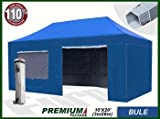 Eurmax Premium 6 x 3m Pop Up Gazebo Heavy Duty Marquee Folding Tent with Four Side Panels And Wheeled Carry Bag (Blue)