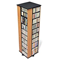 Prepac Oak 4-Sided Large Spinning Media (DVD,CD,Games) Storage Tower