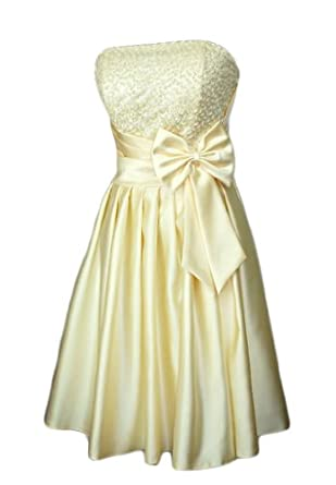 Alivila.Y Fashion Satin Strapless Sequins Cocktail Homecoming Party Dress 8122-Cream-2