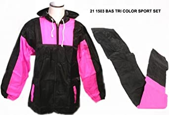 Jemcor 2 piece Unisex Rain Suit, Black with Pink Accents