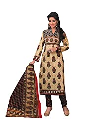 Parchayee Women's Cotton Dress Material (Printed_Beige_Free Size)