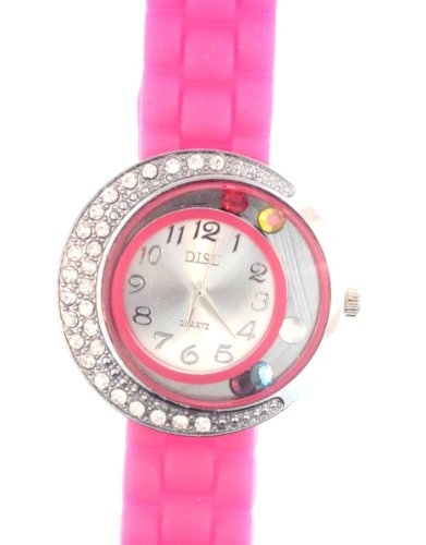 Hot Pink Silicone Rubber Watch Large Face With Moving Colored Crystals With Half Crystal Bezel. Band Link Look Ceramic Style