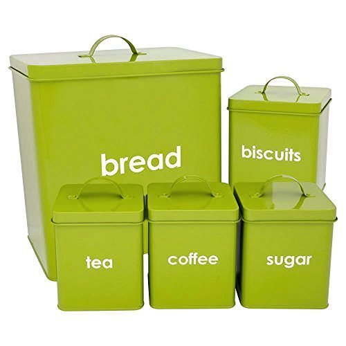 5 Piece Kitchen Storage Set Includes Bread Bin Biscuit Tea Coffee Sugar Candy Tins Containers Canister Storage Jars Pots (Lime Green) by Castle Houseware