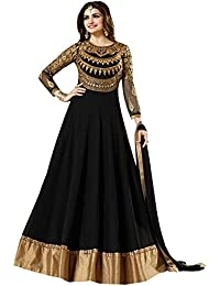 Mashurfab Women's Georgette Neck Embroidered Long Anarkali Suit( Msf008_Black)