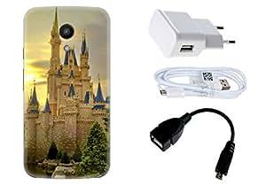 Spygen Motorola Moto G2 (2nd Gen) Case Combo of Premium Quality Designer Printed 3D Lightweight Slim Matte Finish Hard Case Back Cover + Charger Adapter + High Speed Data Cable + Premium Quality OTG