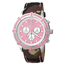 Love Peace and Hope Midsize WA05 Pink and Camouflage Time for Peace Watch