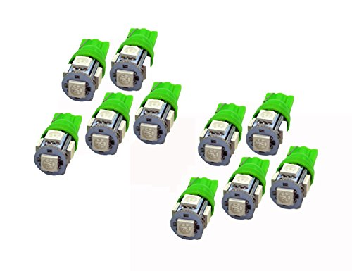 ABN 10x 194 168 2825 T10 5-SMD Green LED Car Lights Bulb (T10 Led Bulb Green compare prices)