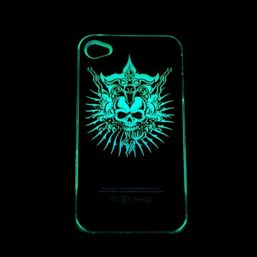 Skull Sense Flash Light Up Led Case Cover For Iphone 4/4S New Cool