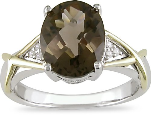10K Gold and Silver Diamond Smokey Quartz Ring