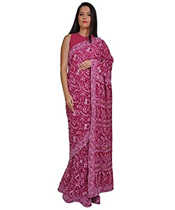 Talking Threads Georgette Chikankari Embroidered Saree available at Amazon for Rs.36000